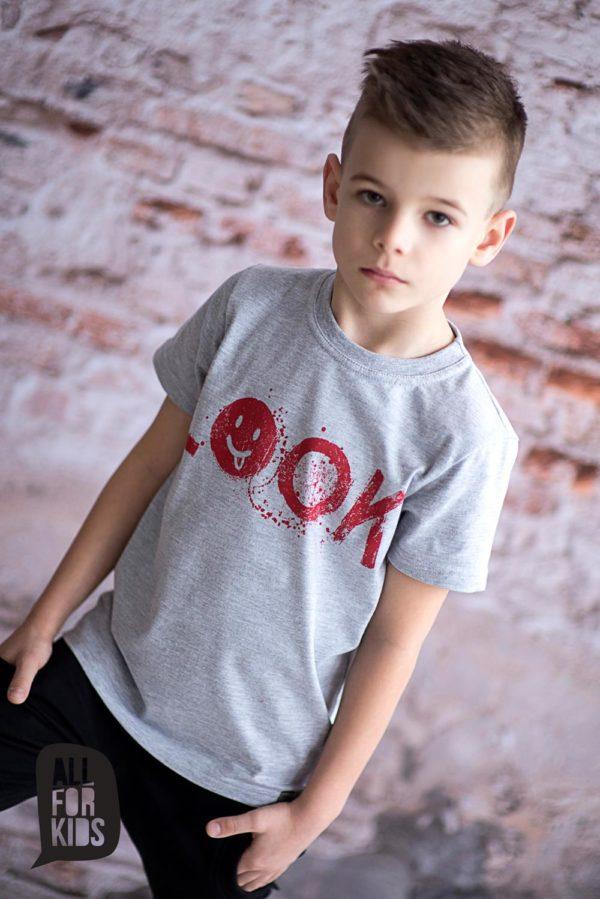 Szara bluzka z krótkim rękawem dla chłopców Look
