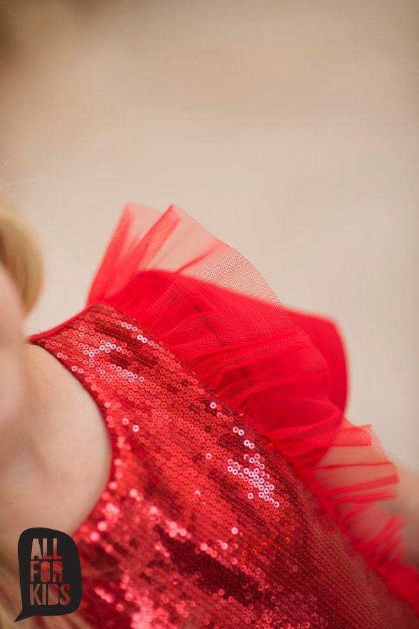 Czerwona sukienka dla dziewczynki z cekinami i tiulem