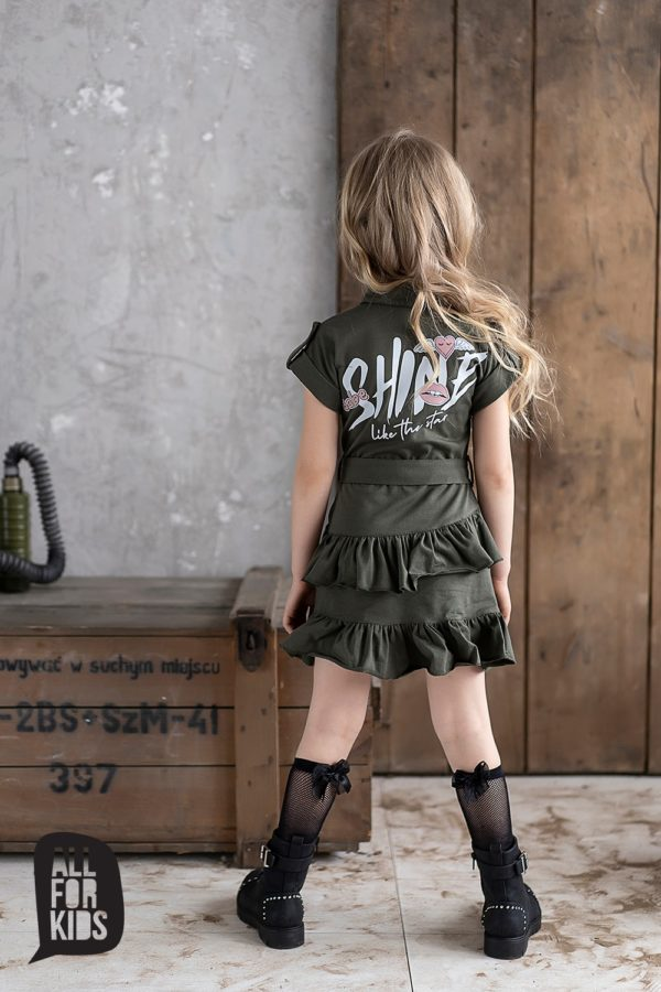 Sukienka szmizjerka khaki dla dziewczynek