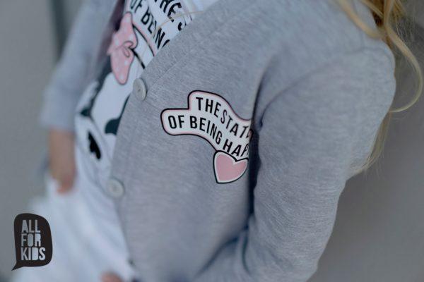 Szary kardigan dla dziewczynek Happiness