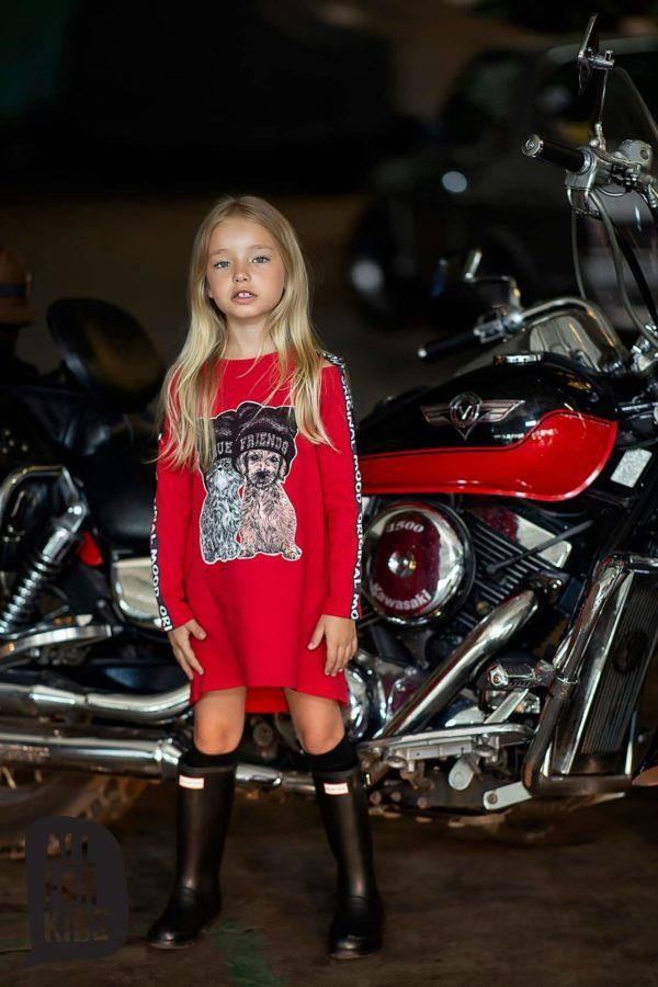 Czerwona sukienka z kotem dla dziewczynki