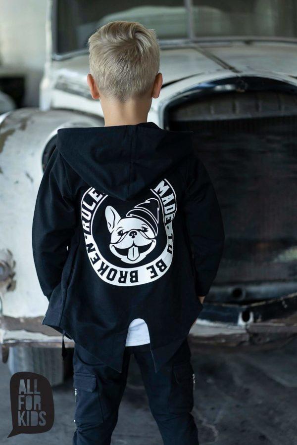 Czarna bluza z nadrukiem na plecach dla chłopców Rules