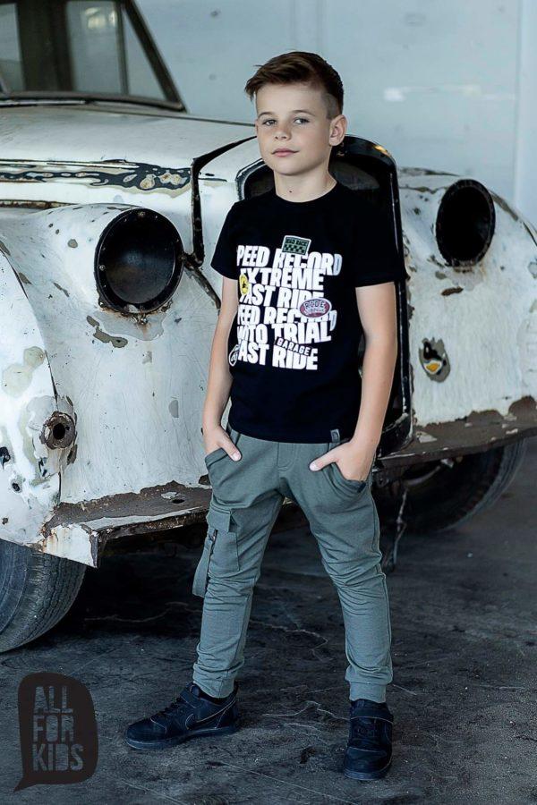 Chłopięcy czarny t shirt z nadrukiem Extreme