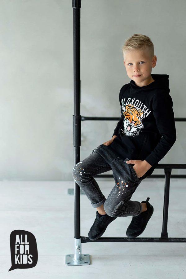 Czarna bluza z kapturem dla chłopców Roar