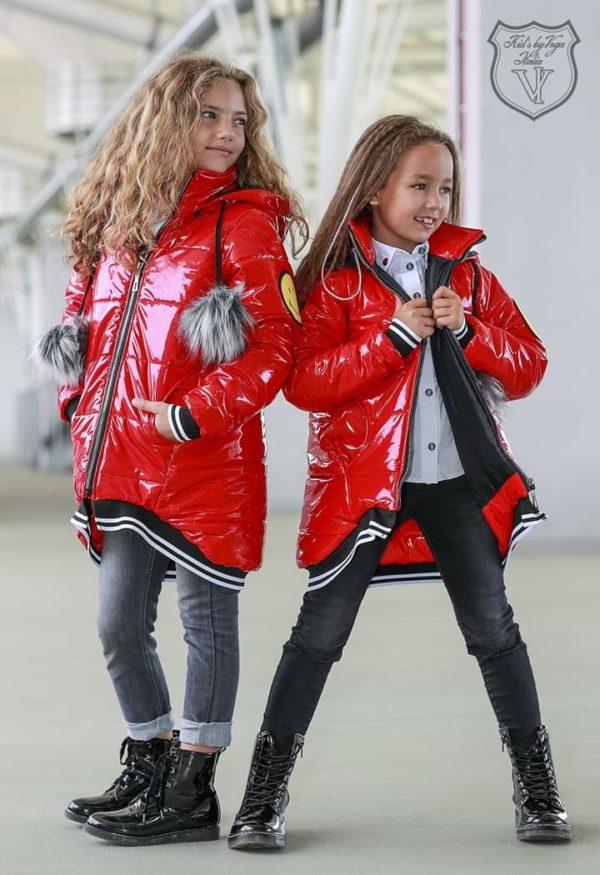 Czerwona kurtka dziewczęca
