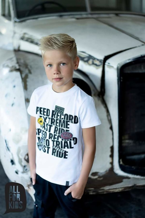 Biały chłopięcy t-shirt z napisem Extreme