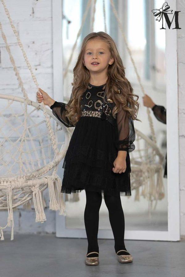 Elegancka sukienka dla dziewczynki ze złotymi zdobieniami