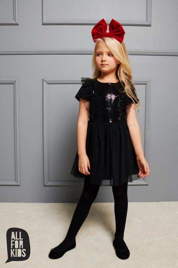 Czarna sukienka dla dziewczynki z cekinami i tiulem