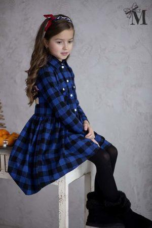 Sukienka dla dziewczynki w niebieską kratę