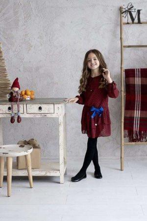 Wizytowa sukienka dla dziewczynki w czarno-czerwoną kratę