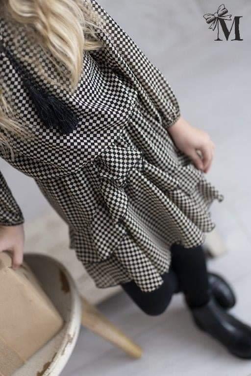 Sukienka dziewczęca elegancka w kratę czarno-beżową