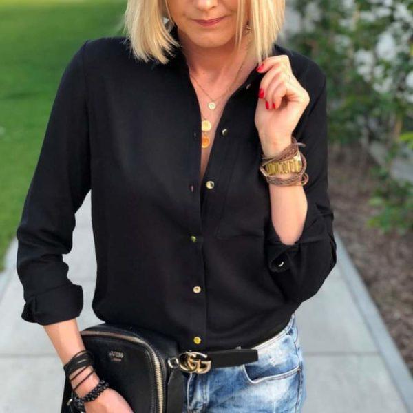 Czarna koszula damska z wiskozy