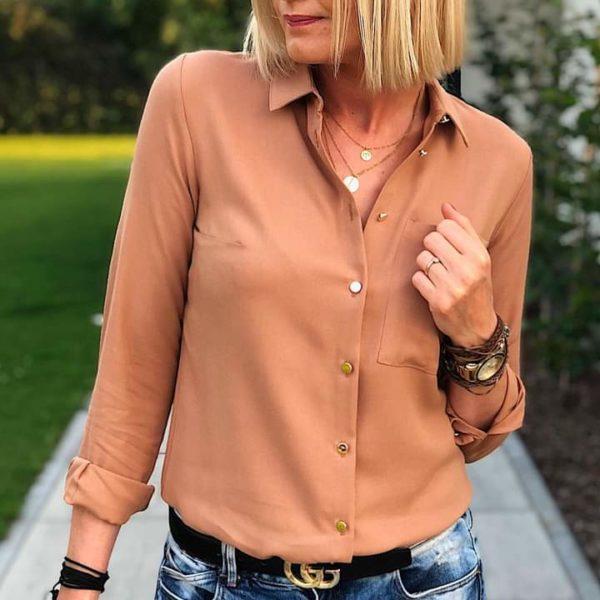 Karmelowa koszula z wiskozy