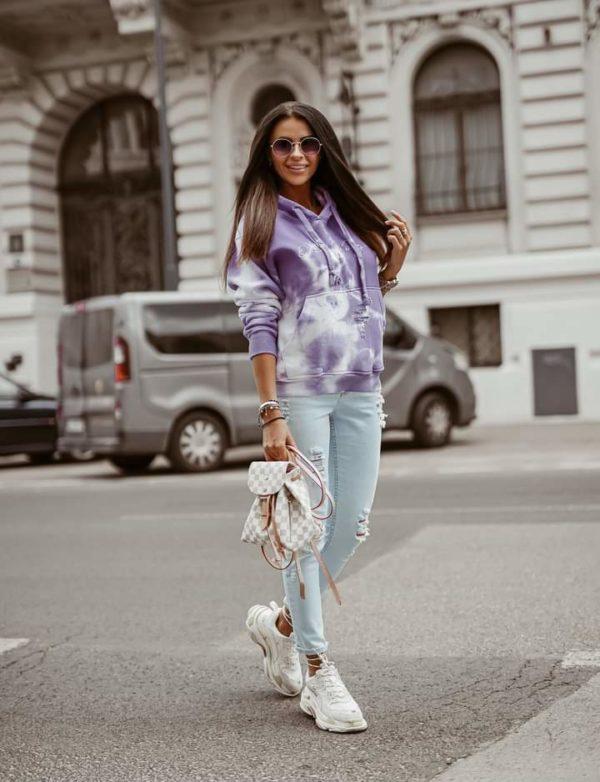Fioletowa bluza Tie Dye damska