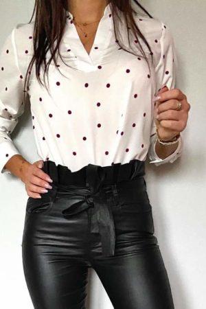 Koszula z wiskozy damska czarne groszki