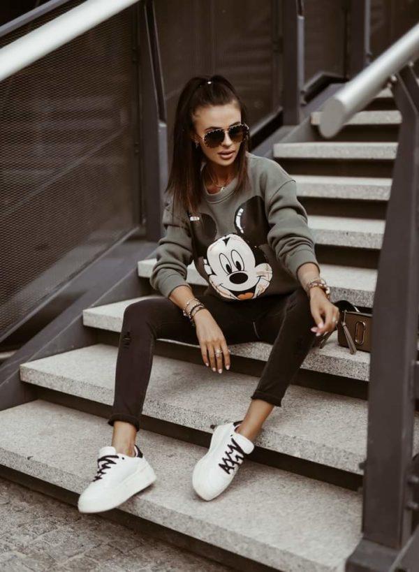 Bluza khaki damska Mickey Mouse
