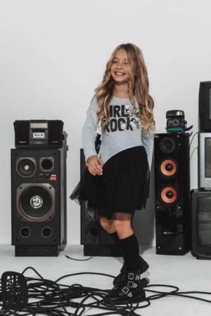 Asymetryczna sukienka dla dziewczynki Girl Rock szara