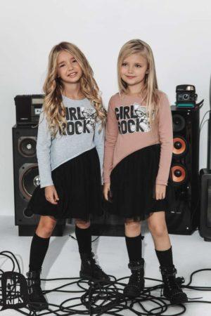 Asymetryczna sukienka dla dziewczynki Girl Rock brudny róż