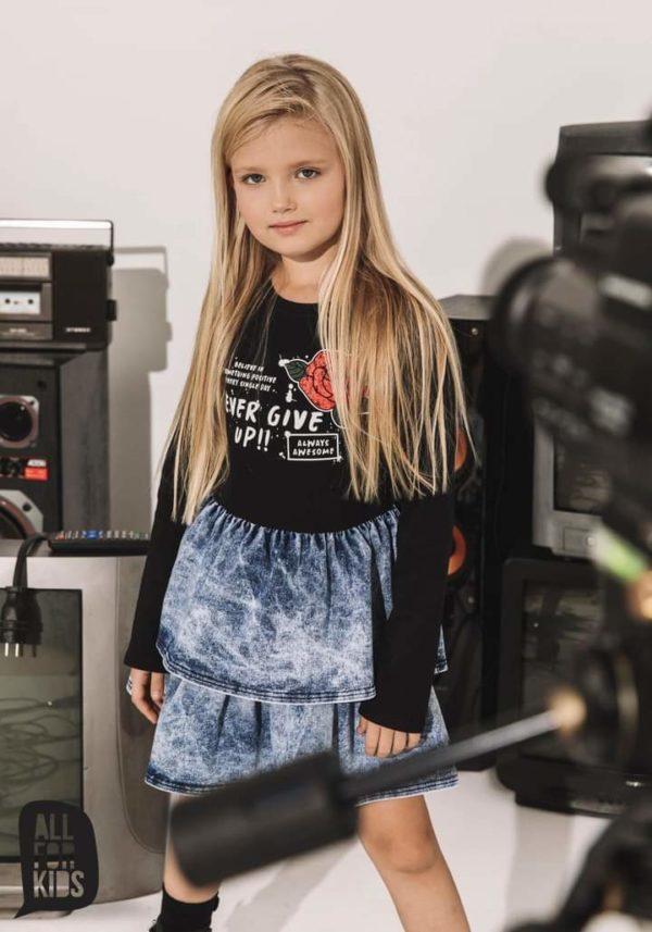 Jeansowa sukienka z różą dla dziewczynki Rosa