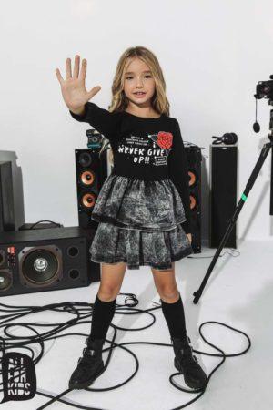 Czarna sukienka z różą dla dziewczynki Rosa