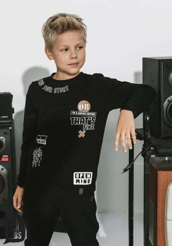 Czarna bluza z napisem dla chłopca Enjoy Limited Edition