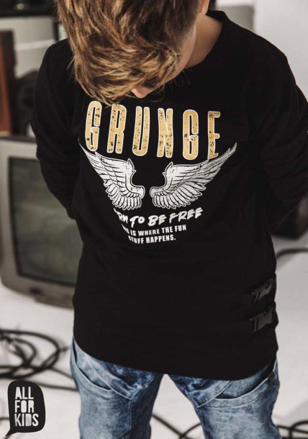 Czarna bluza z nadrukiem dla chłopców Grunge