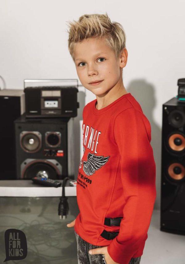 Czerwona bluza dla chłopca Grunge