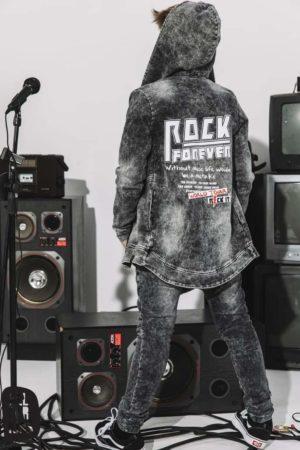 Bluza z kapturem chłopięca czarna Rock It
