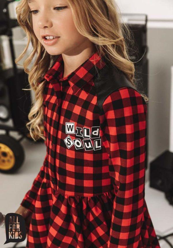 Sukienka w kratkę dla dziewczynki Wild Soul