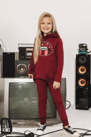 Bordowe dresy dla dziewczynki All for Kids