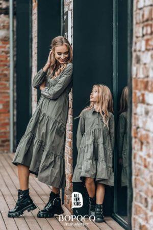 Sukienka do łydki dla dziewczynki khaki Absolutely Unique