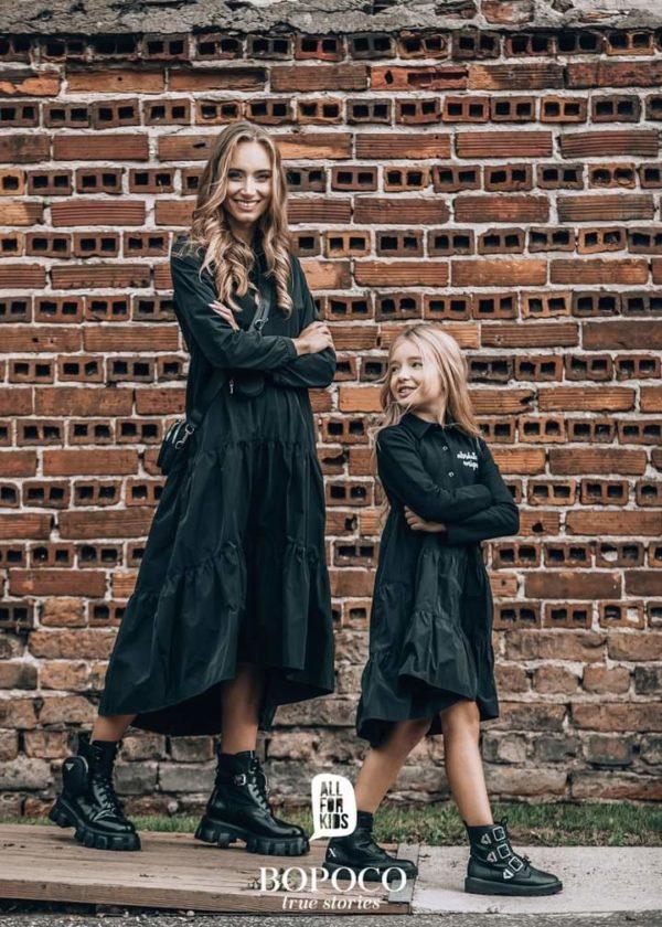 Sukienka damska czarna długi rękaw BOPOCO