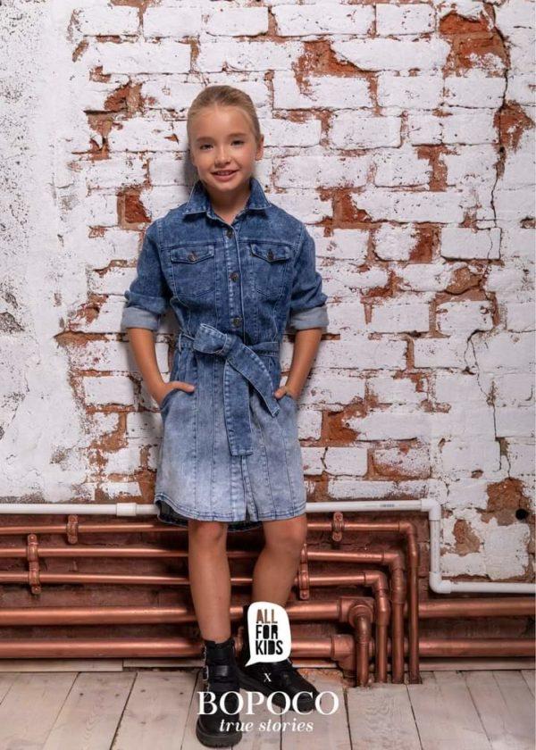 Dziewczęca sukienka jeansowa z paskiem BOPOCO