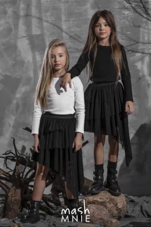 Dziewczęca czarna bluzka z długim rękawem Mashmnie