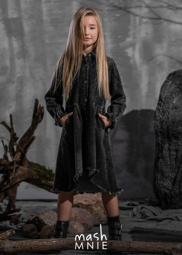 Czarna sukienka jeansowa dla dziewczynki MashMnie
