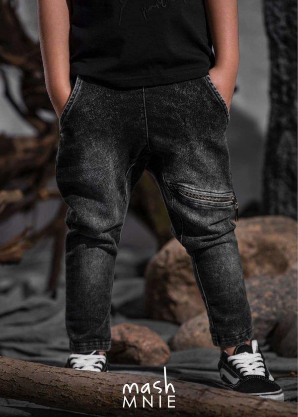 Chłopięce spodnie z zamkami czarne MashMnie