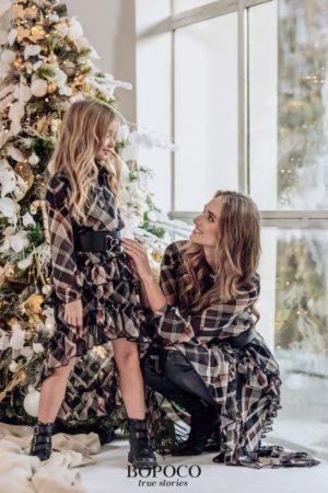 Sukienka dla dziewczynki w kratkę Mama&Córka