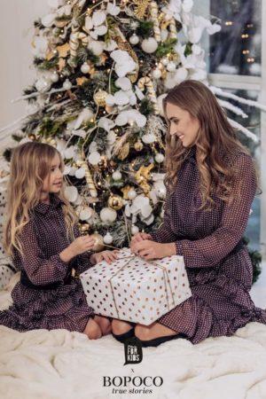 Asymetryczna sukienka dla dziewczynki z kołnierzykiem Mama&Córka