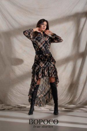 Damska sukienka w kratę BOPOCO