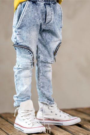 Spodnie jeansowe Ice Dye niebieskie MashMnie