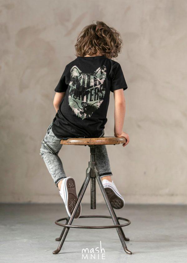 T-shirt dla chłopca czarny Wild Wolf Mashmnie