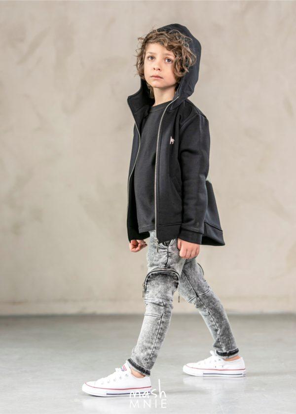 Bluza z kapturem dla chłopca Wild Wolf czarna MashMnie