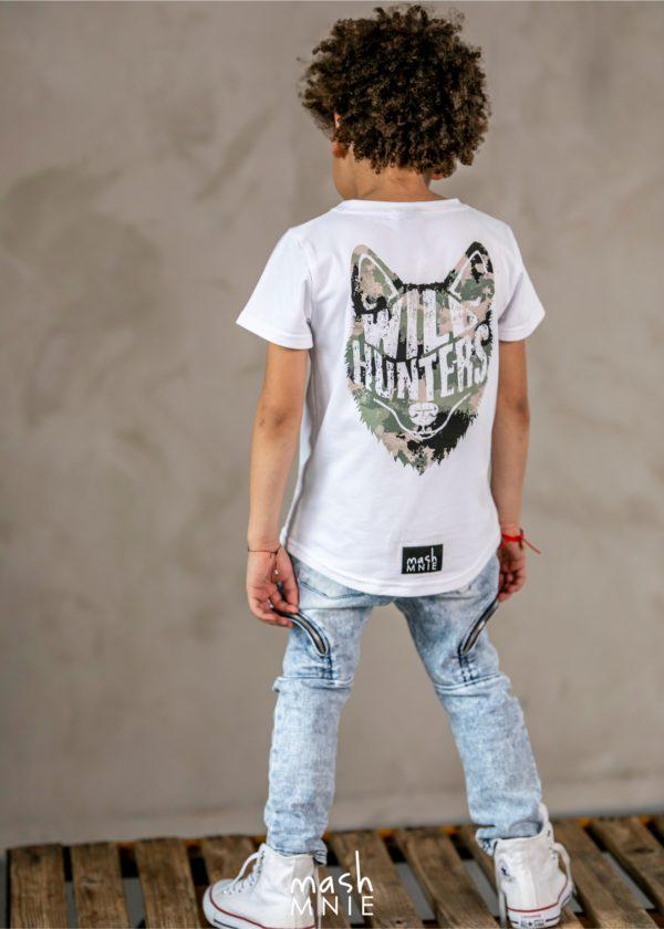 T-shirt chłopięcy Wild Wolf biały Mashmnie