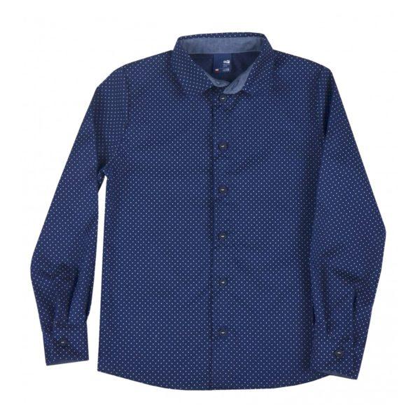 Elegancka koszula dla chłopca granatowa w kropeczki
