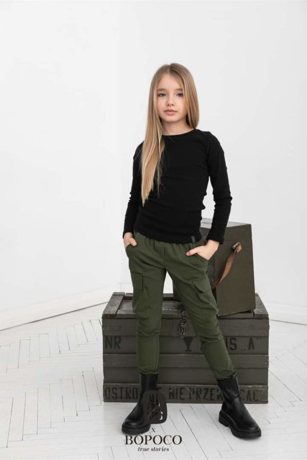 Bluzka dziewczęca czarna prążkowana All For Kids