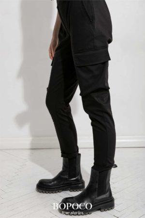 Damskie spodnie bojówki czarne BOPOCO