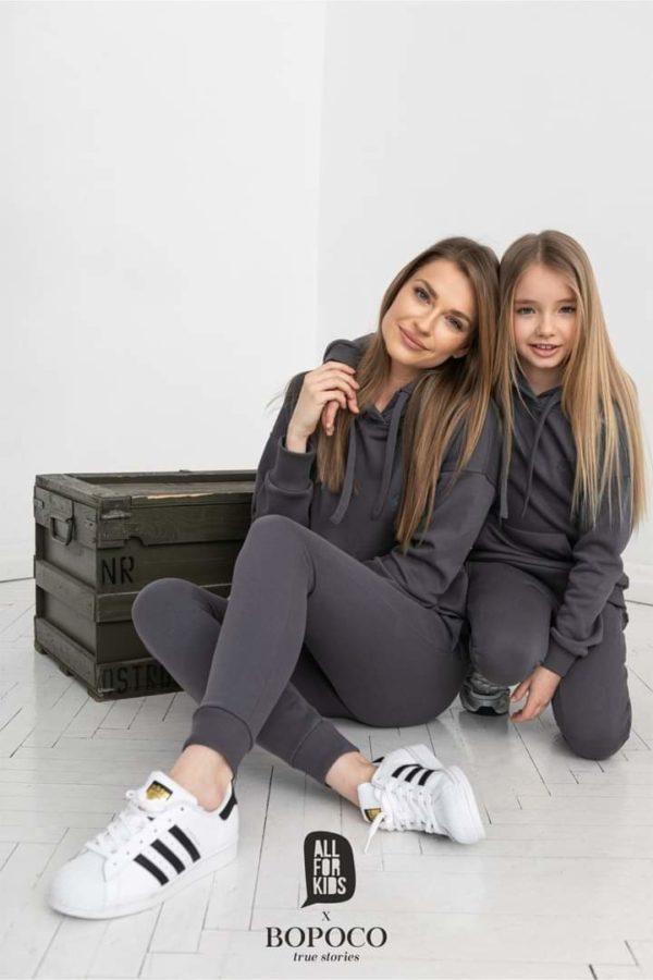 Damski dres w kolorze stalowym Mama&Córka BOPOCO