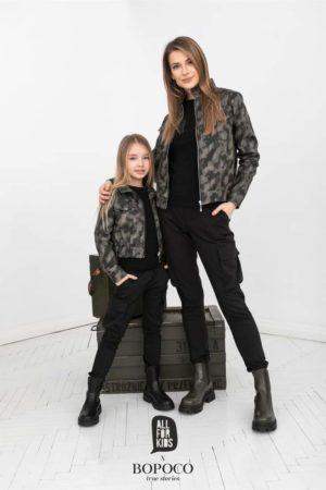 Czarne bojówki dziewczęce MILITATY Mama&Córka