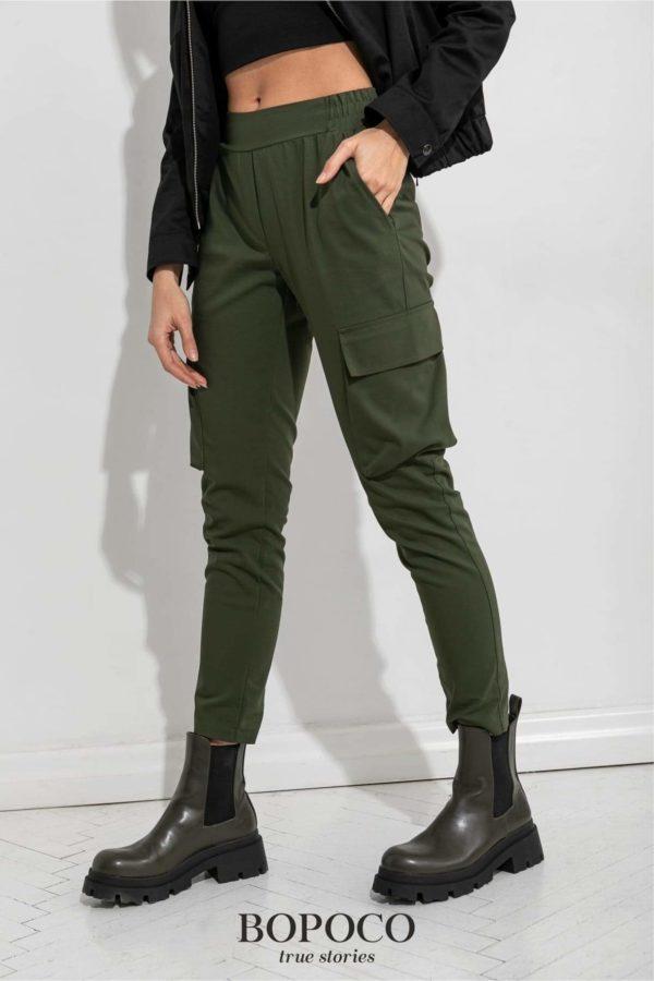 Damskie spodnie w kolorze khaki BOPOCO