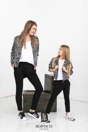 Damskie spodnie czarne z zakładką khaki BOPOCO